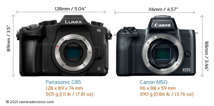 Panasonic G85 vs Canon M50 Camera Size Comparison - Front View