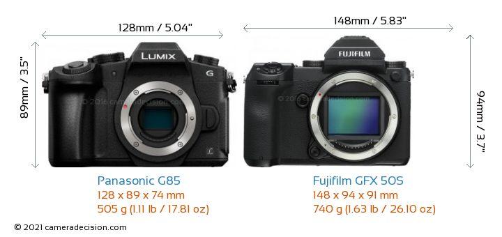 Panasonic G85 vs Fujifilm GFX 50S Camera Size Comparison - Front View