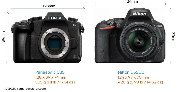 Panasonic G85 vs Nikon D5500 Camera Size Comparison - Front View