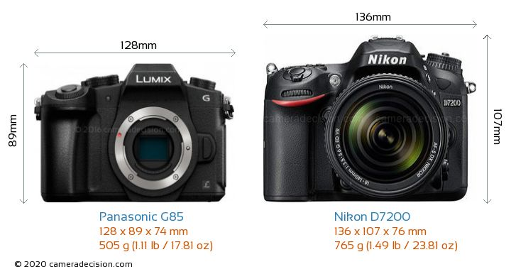 Panasonic G85 vs Nikon D7200 Camera Size Comparison - Front View