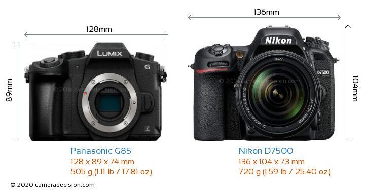 Panasonic G85 vs Nikon D7500 Camera Size Comparison - Front View