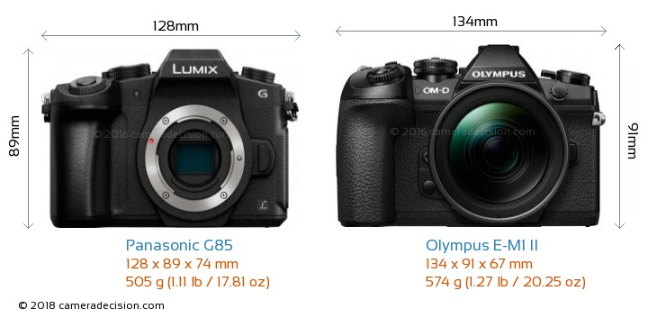Panasonic G85 vs Olympus E-M1 II Camera Size Comparison - Front View
