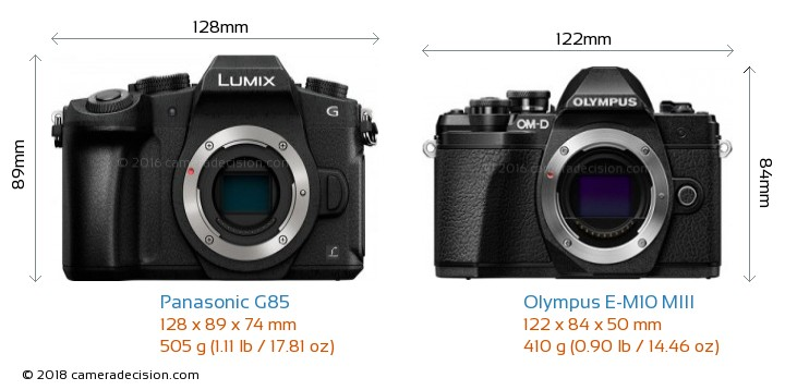 Panasonic G85 vs Olympus E-M10 MIII Camera Size Comparison - Front View