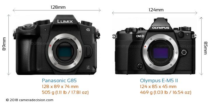 Panasonic G85 vs Olympus E-M5 II Camera Size Comparison - Front View