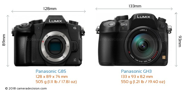 Panasonic G85 vs Panasonic GH3 Camera Size Comparison - Front View