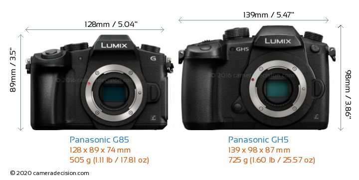 Panasonic G85 vs Panasonic GH5 Camera Size Comparison - Front View