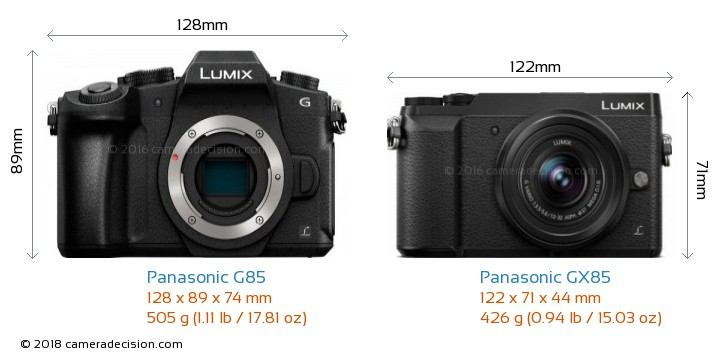 Panasonic G85 vs Panasonic GX85 Camera Size Comparison - Front View