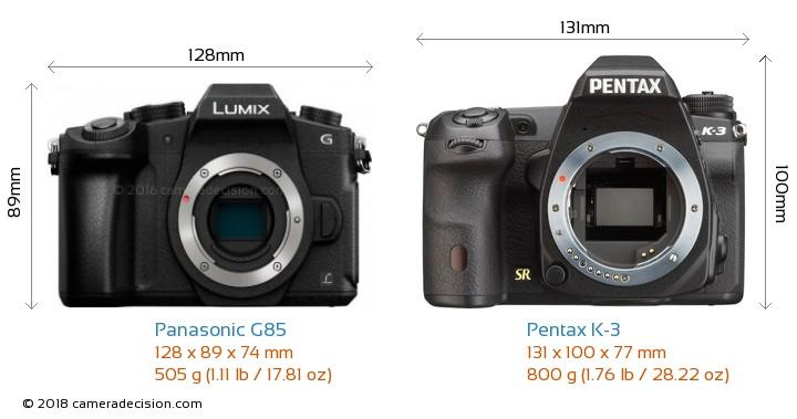 Panasonic G85 vs Pentax K-3 Camera Size Comparison - Front View