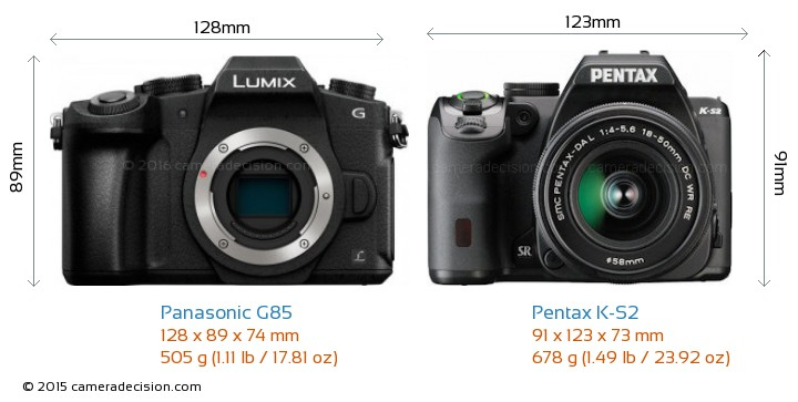 Panasonic G85 vs Pentax K-S2 Camera Size Comparison - Front View