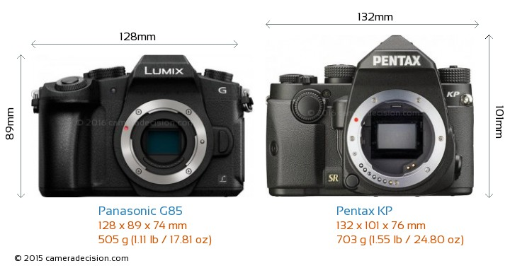Panasonic G85 vs Pentax KP Camera Size Comparison - Front View