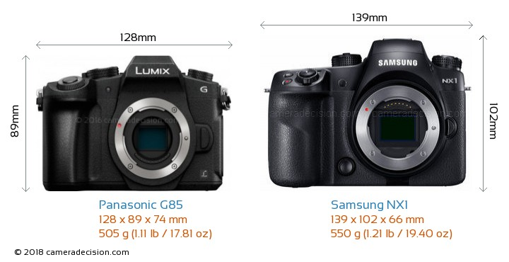 Panasonic G85 vs Samsung NX1 Camera Size Comparison - Front View