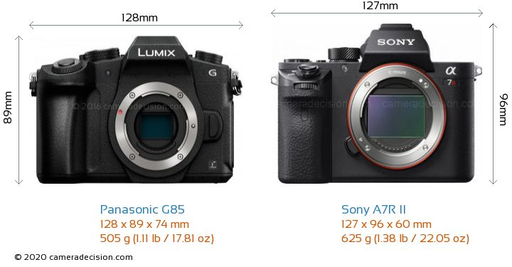Panasonic G85 vs Sony A7R II Camera Size Comparison - Front View
