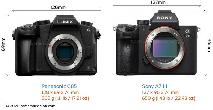 Panasonic G85 vs Sony A7 III Camera Size Comparison - Front View