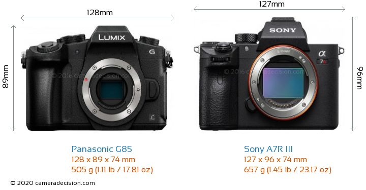Panasonic G85 vs Sony A7R III Camera Size Comparison - Front View