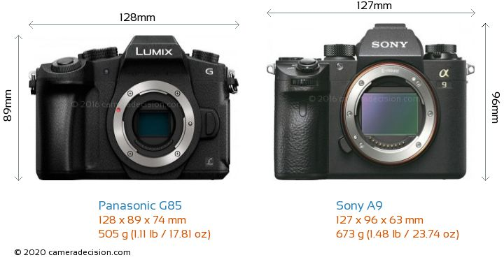 Panasonic G85 vs Sony A9 Camera Size Comparison - Front View