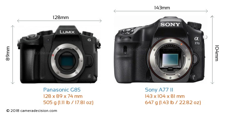 Panasonic G85 vs Sony A77 II Camera Size Comparison - Front View