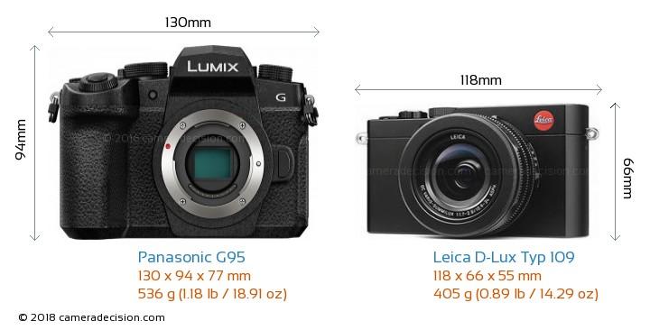 Panasonic G95 vs Leica D-Lux Typ 109 Camera Size Comparison - Front View