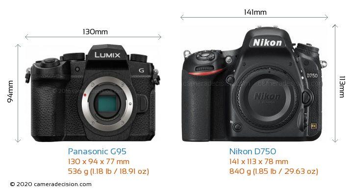 Panasonic G95 vs Nikon D750 Camera Size Comparison - Front View