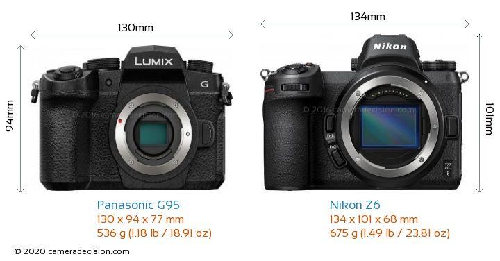 Panasonic G95 vs Nikon Z6 Camera Size Comparison - Front View