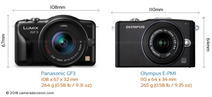 Panasonic GF3 vs Olympus E-PM1 Camera Size Comparison - Front View