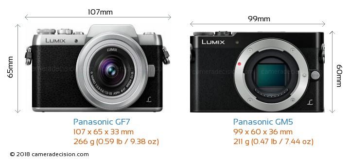 Panasonic GF7 vs Panasonic GM5 Camera Size Comparison - Front View