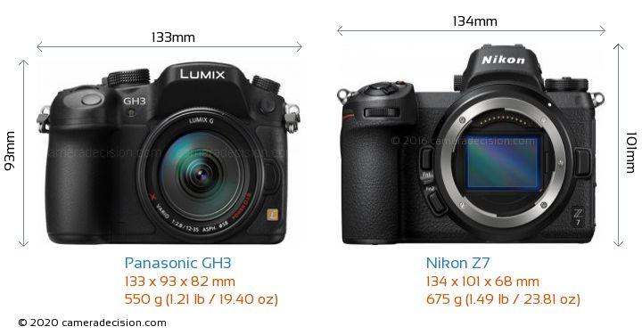 Panasonic GH3 vs Nikon Z7 Camera Size Comparison - Front View