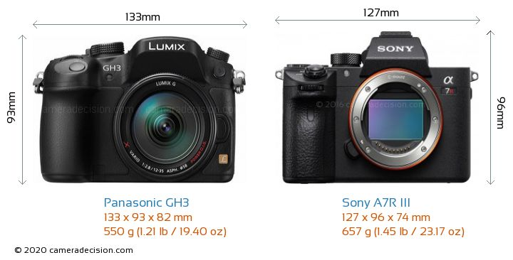 Panasonic GH3 vs Sony A7R III Camera Size Comparison - Front View