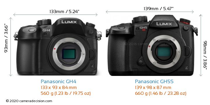 Panasonic GH4 vs Panasonic GH5S Camera Size Comparison - Front View