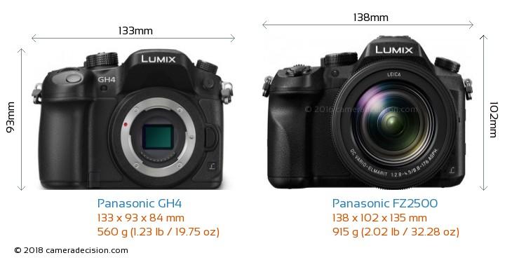Panasonic GH4 vs Panasonic FZ2500 Camera Size Comparison - Front View