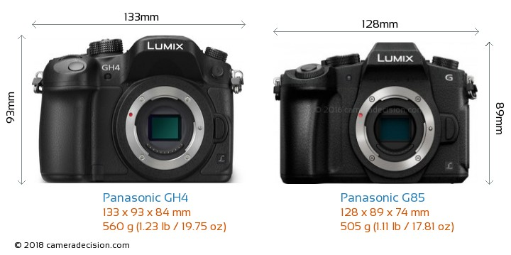 Panasonic GH4 vs Panasonic G85 Camera Size Comparison - Front View