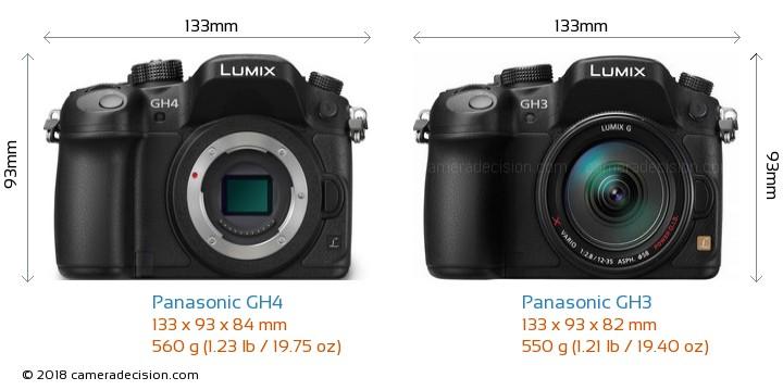 Panasonic GH4 vs Panasonic GH3 Camera Size Comparison - Front View