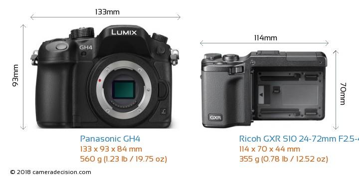 Panasonic GH4 vs Ricoh GXR S10 24-72mm F2.5-4.4 VC Camera Size Comparison - Front View