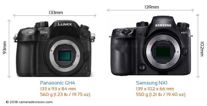 Panasonic GH4 vs Samsung NX1 Camera Size Comparison - Front View