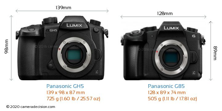 Panasonic GH5 vs Panasonic G85 Camera Size Comparison - Front View