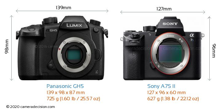 Panasonic GH5 vs Sony A7S II Camera Size Comparison - Front View