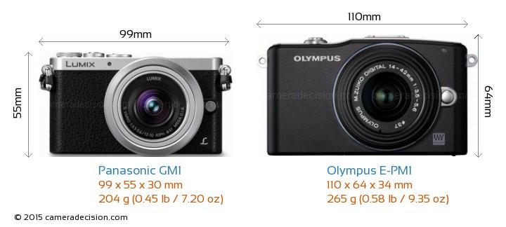 Panasonic GM1 vs Olympus E-PM1 Camera Size Comparison - Front View