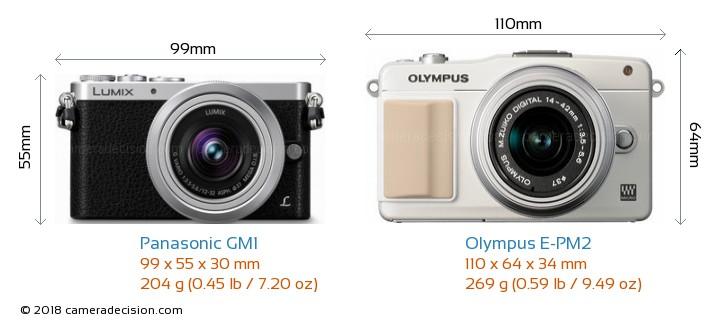 Panasonic GM1 vs Olympus E-PM2 Camera Size Comparison - Front View