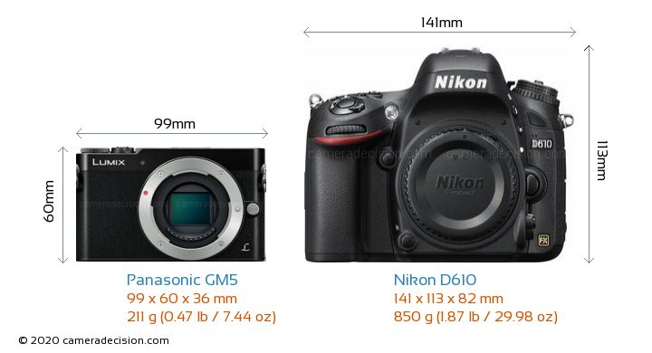 Panasonic GM5 vs Nikon D610 Camera Size Comparison - Front View