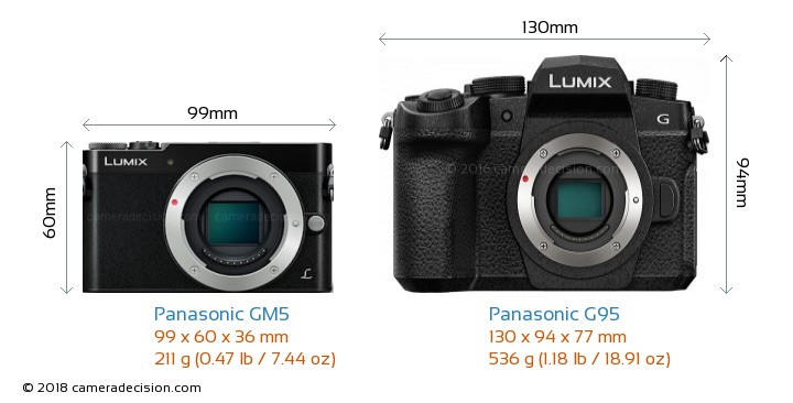 Panasonic GM5 vs Panasonic G95 Camera Size Comparison - Front View