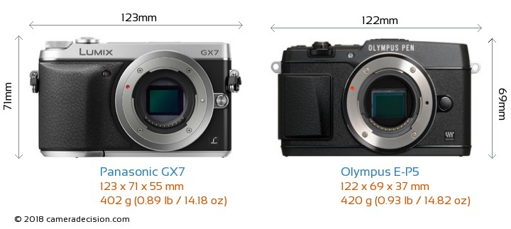 Panasonic GX7 vs Olympus E-P5 Camera Size Comparison - Front View