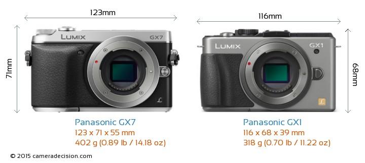 Panasonic GX7 vs Panasonic GX1 Camera Size Comparison - Front View