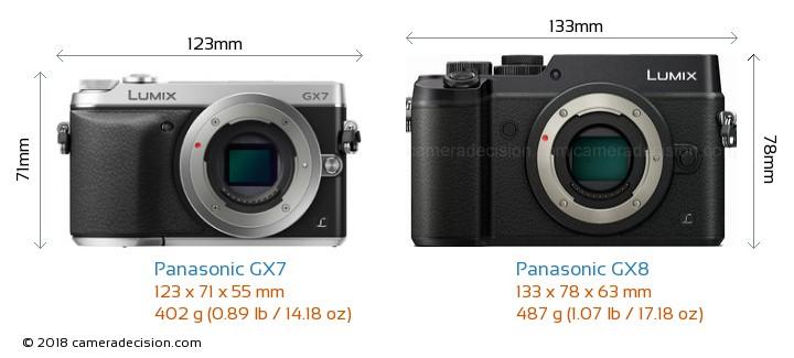 Panasonic GX7 vs Panasonic GX8 Camera Size Comparison - Front View
