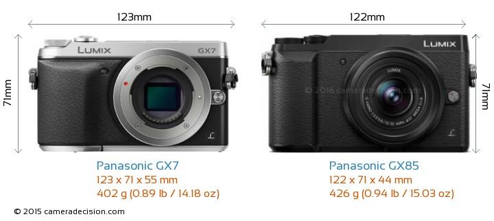 Panasonic GX7 vs Panasonic GX85 Camera Size Comparison - Front View