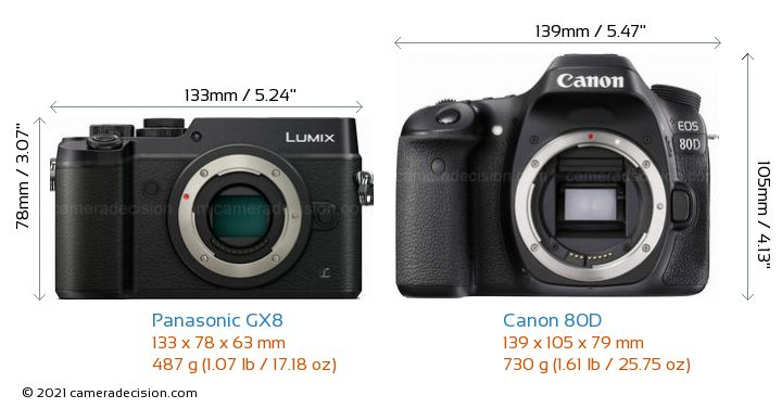 Panasonic GX8 vs Canon 80D Camera Size Comparison - Front View