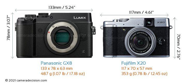 Panasonic GX8 vs Fujifilm X20 Camera Size Comparison - Front View