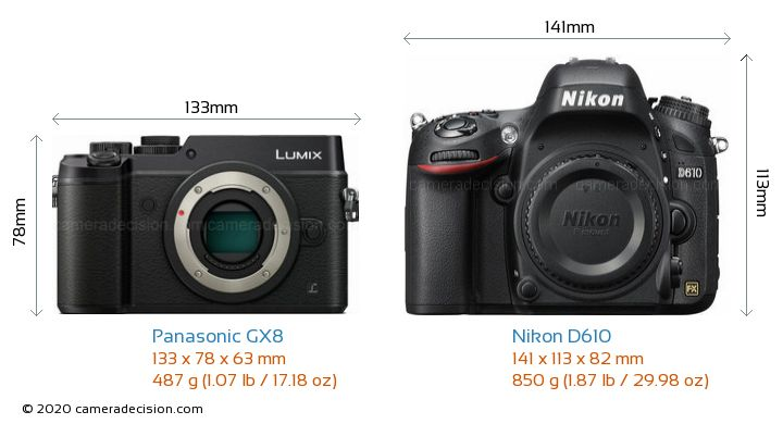 Panasonic GX8 vs Nikon D610 Camera Size Comparison - Front View
