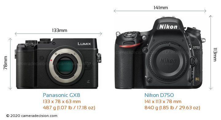 Panasonic GX8 vs Nikon D750 Camera Size Comparison - Front View