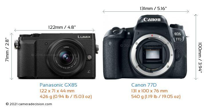 Panasonic GX85 vs Canon 77D Camera Size Comparison - Front View