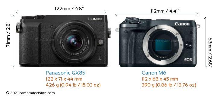 Panasonic GX85 vs Canon M6 Camera Size Comparison - Front View