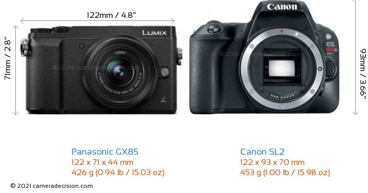 Panasonic GX85 vs Canon SL2 Camera Size Comparison - Front View